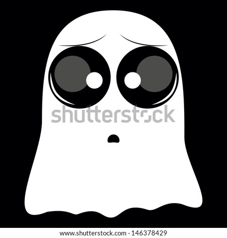 white with big eyes ghost on black background. - stock vector