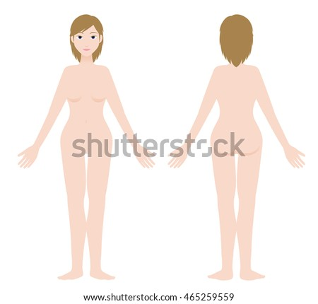 white woman body front and back view, vector illustration