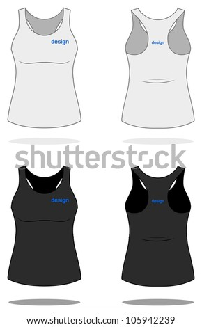 White WOMAN SINGLET. Simple vector, easy to recolor. More clothing designs in my portfolio!
