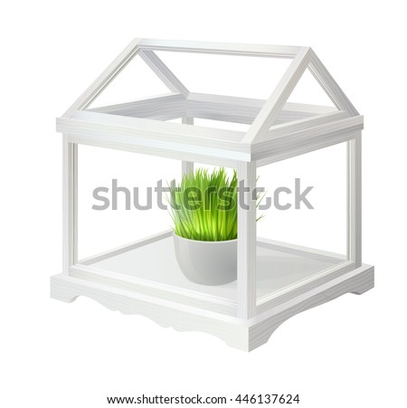 White Wooden Tabletop Mini Greenhouse With Plant In White Pot
