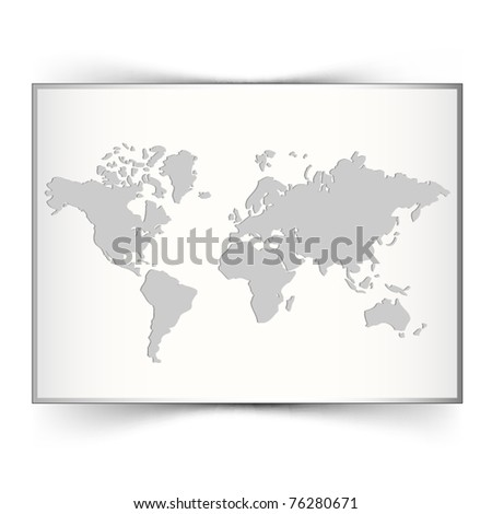 White world map background - stock vector