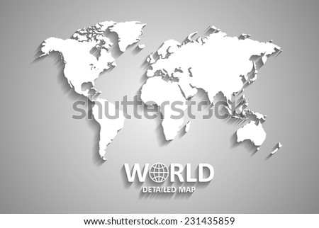 White World Map on Gray Background with Shadows (EPS10 Vector) - stock vector