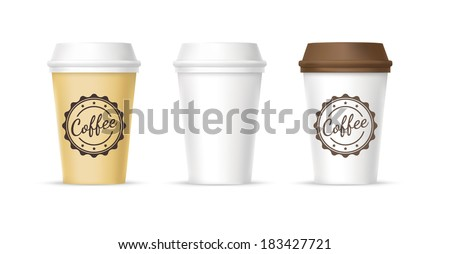 White, yellow, brown paper coffee cups templates on white background - stock vector