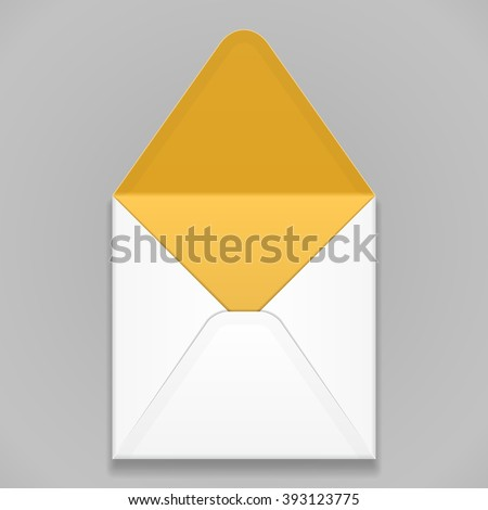 White Yellow Orange Blank Envelope. Illustration Isolated On Gray Background. Mock Up Template Ready For Your Design. Vector EPS10 - stock vector