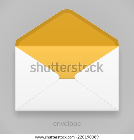 White Yellow Orange Blank Envelope Isolated On Gray Background. Ready For Your Design. Product Packing Vector EPS10 - stock vector