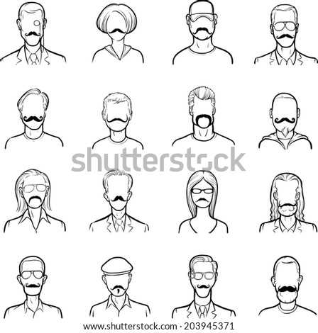 whiteboard drawing - anonymous faces with mustaches - stock vector