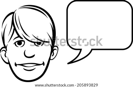whiteboard drawing - bangs face with speech bubble - stock vector