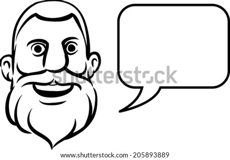 whiteboard drawing - bearded face with speech bubble - stock vector