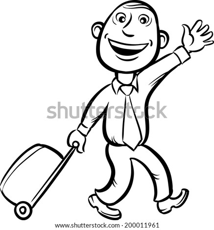 whiteboard drawing - businessman walking with luggage with wheels - stock vector