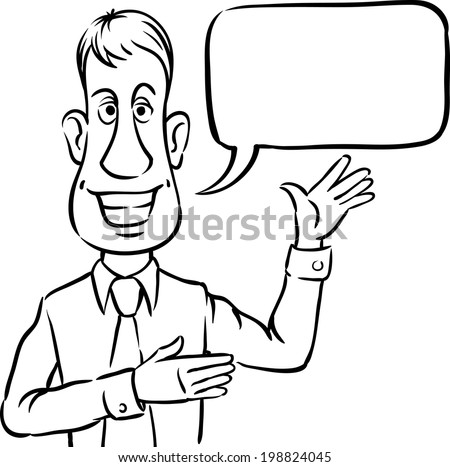 whiteboard drawing - businessman with speech bubble smiling and pointing. Easy-edit layered vector EPS10 file scalable to any size without quality loss.