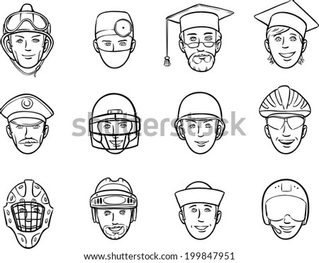 whiteboard drawing - cartoon avatar faces job occupations - stock vector