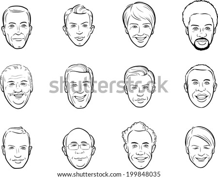 whiteboard drawing - cartoon avatar smiling men faces - stock vector