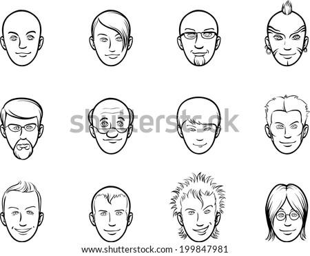 whiteboard drawing - cartoon avatar various men faces - stock vector