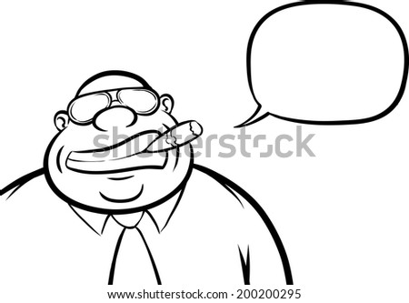 whiteboard drawing - cartoon cheerful boss with speech bubble - stock vector