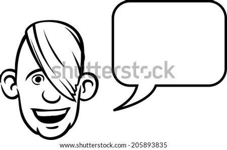 whiteboard drawing - cartoon face with speech bubble - stock vector