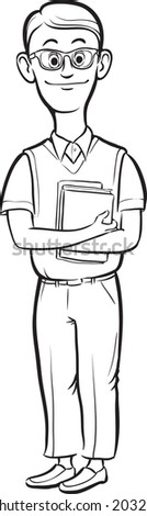 whiteboard drawing - cartoon nerd man smiling - stock vector