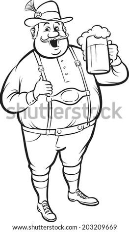 whiteboard drawing - cartoon oktoberfest man with beer - stock vector