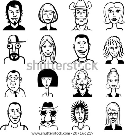 whiteboard drawing - doodle funny faces set - stock vector