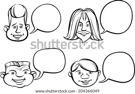 whiteboard drawing - funny heads with speech bubbles - stock vector