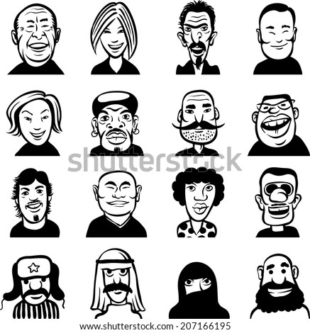 whiteboard drawing - set of different doodle faces - stock vector