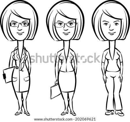 whiteboard drawing - three cartoon women professionals doctor secretary teacher - stock vector