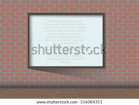 Whiteboard on street and brick wall background