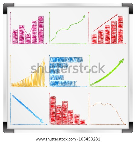 Whiteboard with different graphs and charts, vector eps10 illustration - stock vector