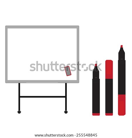 Whiteboard with  opened, closed, red markers vector isolated on white - stock vector