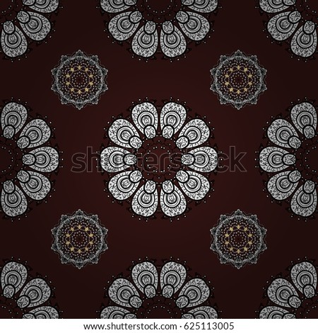 Whiteen pattern on brown background with white elements. Seamless white pattern. Vector oriental ornament.