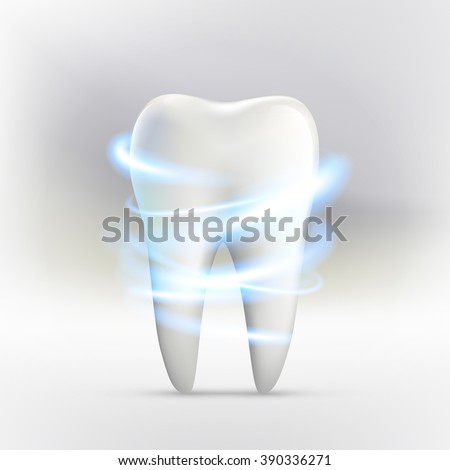 Whitening of human tooth.Vector illustration. - stock vector