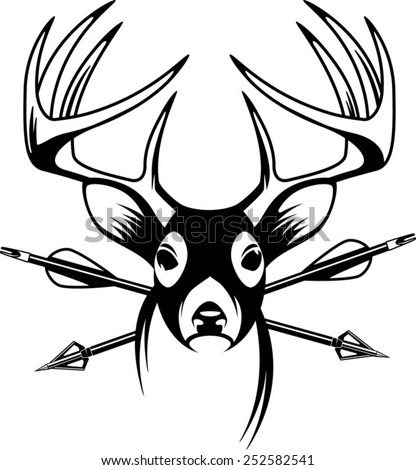 whitetail deer vector. whitetail deer head with crossing hunting arrows vector