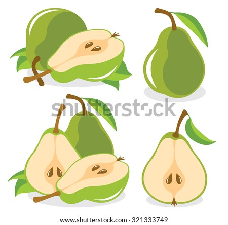 Whole and cut in half green pear fruits, collection of vector illustrations - stock vector