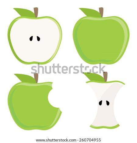 Whole green apple, half apple, apple stump and bitten apple vector set, healthy food, fresh fruit - stock vector