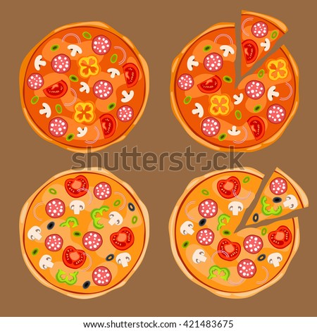 Whole pizza and pizza with separated slice with onions, black and green olives, mushrooms, tomatoes, yellow and green bell peppers, salami or pepperoni. Yummy pizza with toppings - stock vector