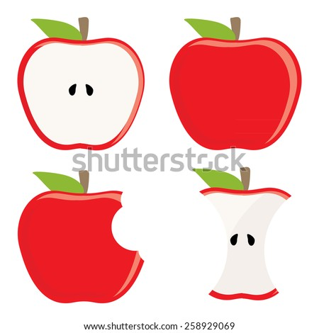 Whole red apple, half apple, apple stump and bitten apple vector set, healthy food, fresh fruit - stock vector