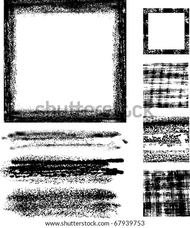 Whole set of graphics grunge elements ready to use All source images are digital generated. No scans - stock vector