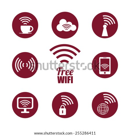 Wi-fi design over white background, vector illustration.