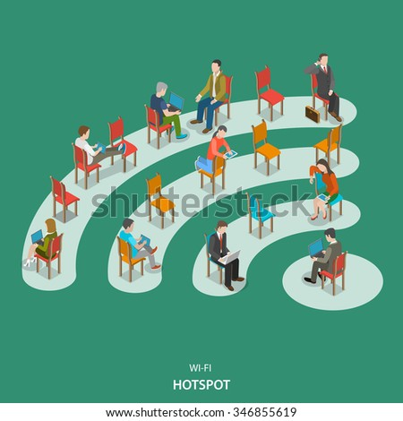 Wi-fi hotspot isometric flat vector concept. People are sitting on the chairs those are located on the wifi sign. - stock vector