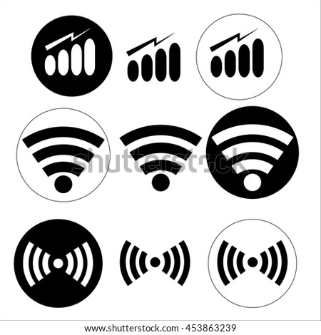 Wi-Fi icons. Signal strength indicator template  - stock vector
