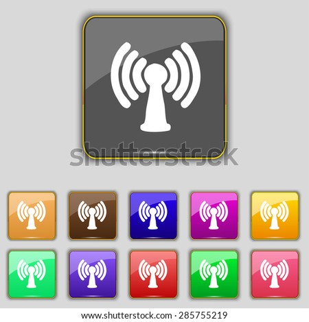 Wi-fi, internet icon sign. Set with eleven colored buttons for your site. Vector illustration - stock vector