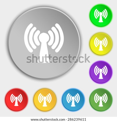 Wi-fi, internet icon sign. Symbol on five flat buttons. Vector illustration - stock vector
