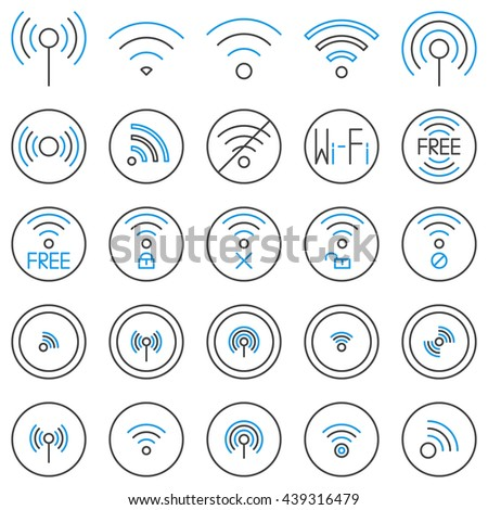 Wi-Fi line icons set. Vector collection of wifi linear symbols. Wireless internet signs or free wi-fi logo elements - stock vector