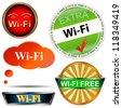 Wi fi logos set on a white background - stock photo