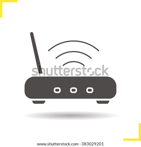 Wi fi router icon. Drop shadow silhouette symbol. Wireless internet connection router isolated illustration. Logo concept. Network access. Vector - stock vector