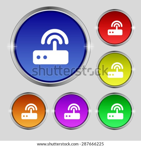 Wi fi router icon sign. Round symbol on bright colourful buttons. Vector illustration - stock vector