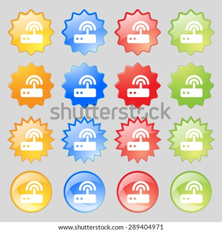 Wi fi router icon sign. Set from fourteen multi-colored glass buttons with place for text. Vector illustration - stock vector