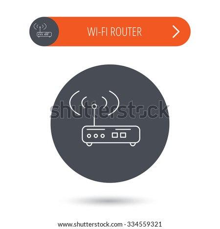 Wi-fi router icon. Wifi wireless internet sign. Device with antenna symbol. Gray flat circle button. Orange button with arrow. - stock vector