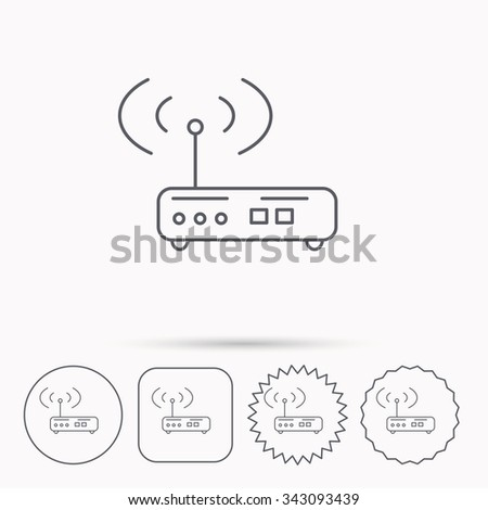 Wi-fi router icon. Wifi wireless internet sign. Device with antenna symbol. Linear circle, square and star buttons with icons. - stock vector
