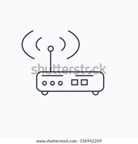 Wi-fi router icon. Wifi wireless internet sign. Device with antenna symbol. Linear outline icon on white background. - stock vector