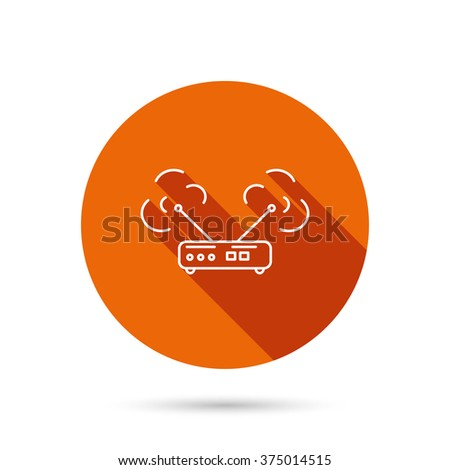 Wi-fi router icon. Wifi wireless internet sign. Device with antenna symbol. Round orange web button with shadow. - stock vector